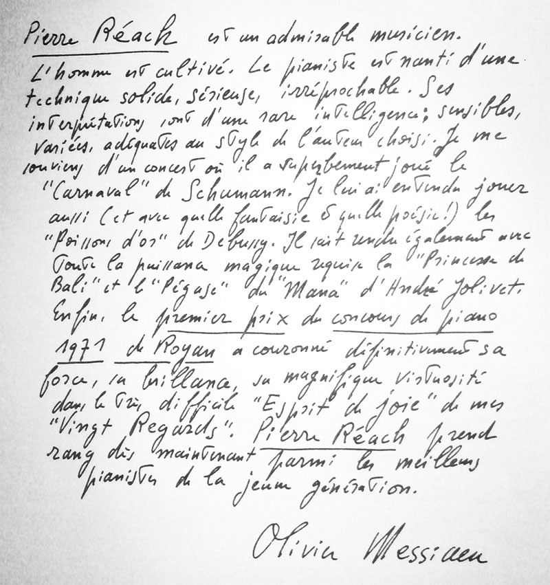 Texte manuscrit de Olivier Messiaen